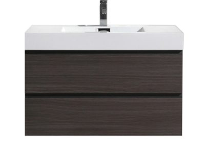 MOF 36 DARK GREY OAK WALL MOUNTED MODERN BATHROOM VANITY WITH REEINFORCED ACRYLIC SINK