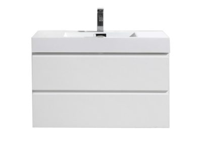 MOF 36 HIGH GLOSS WHITE WALL MOUNTED MODERN BATHROOM VANITY WITH REEINFORCED ACRYLIC SINK