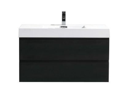 MOF 40 BLACK WALL MOUNTED MODERN BATHROOM VANITY WITH REEINFORCED ACRYLIC SINK