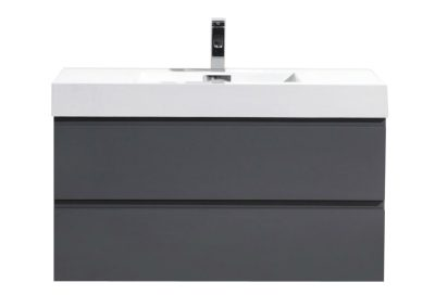 MOF 40 HIGH GLOSS GREY WALL MOUNTED MODERN BATHROOM VANITY WITH REEINFORCED ACRYLIC SINK