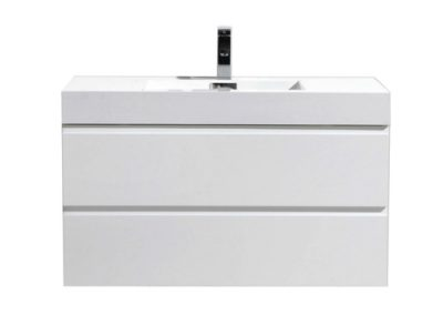 MOF 40 HIGH GLOSS WHITE WALL MOUNTED MODERN BATHROOM VANITY WITH REEINFORCED ACRYLIC SINK