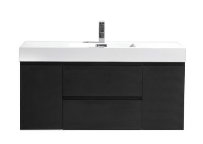 MOF 48 BLACK WALL MOUNTED MODERN BATHROOM VANITY WITH REEINFORCED ACRYLIC SINK