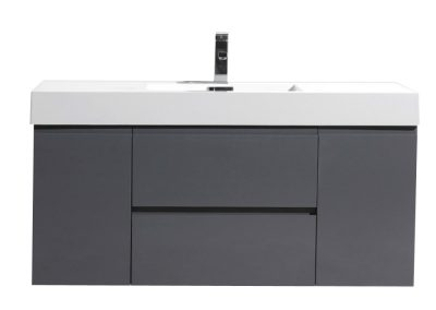 MOF 48 HIGH GLOSS GREY WALL MOUNTED MODERN BATHROOM VANITY WITH REEINFORCED ACRYLIC SINK