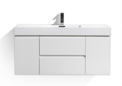MOF 48 HIGH GLOSS WHITE WALL MOUNTED MODERN BATHROOM VANITY WITH REEINFORCED ACRYLIC SINK
