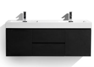 MOF 60 DOUBLE SINK BLACK WALL MOUNTED MODERN BATHROOM VANITY WITH REEINFORCED ACRYLIC SINK