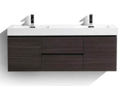 MOF 60 DOUBLE SINK DARK GREY OAK WALL MOUNTED MODERN BATHROOM VANITY WITH REEINFORCED ACRYLIC SINK