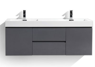 MOF 60 DOUBLE SINK HIGH GLOSS GREY WALL MOUNTED MODERN BATHROOM VANITY WITH REEINFORCED ACRYLIC SINK