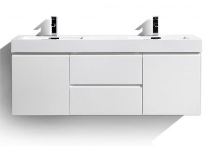 MOF 60 DOUBLE SINK HIGH GLOSS WHITE WALL MOUNTED MODERN BATHROOM VANITY WITH REEINFORCED ACRYLIC SINK