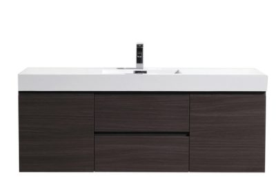 MOF 60 SINGLE SINK DARK GREY OAK WALL MOUNTED MODERN BATHROOM VANITY WITH REINFORCED ACRYLIC SINK