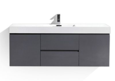 MOF 60 SINGLE SINK HIGH GLOSS GREY WALL MOUNTED MODERN BATHROOM VANITY WITH REINFORCED ACRYLIC SINK