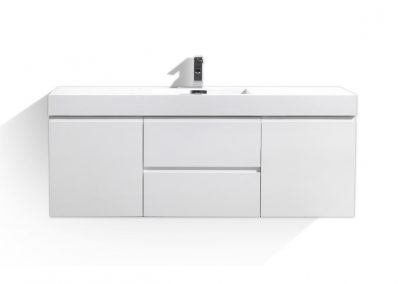 MOF 60 SINGLE SINK HIGH GLOSS WHITE WALL MOUNTED MODERN BATHROOM VANITY WITH REINFORCED ACRYLIC SINK