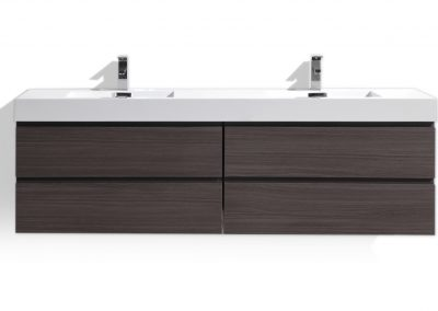 MOF 72 DARK GREY OAK WALL MOUNTED MODERN BATHROOM VANITY WITH REEINFORCED ACRYLIC SINK