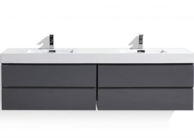 MOF 80 HIGH GLOSS GREY WALL MOUNTED MODERN BATHROOM VANITY WITH REINFORCED ACRYLIC SINK