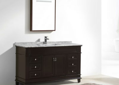 Moreno Fayer 60 Single Sink Espresso Bathroom Vanity With Carrara Marble Top