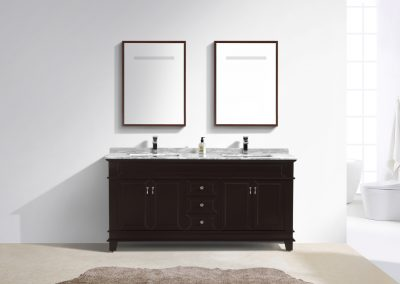 Moreno Fayer 72 Double Sink Espresso Bathroom Vanity With Carrara Marble Top