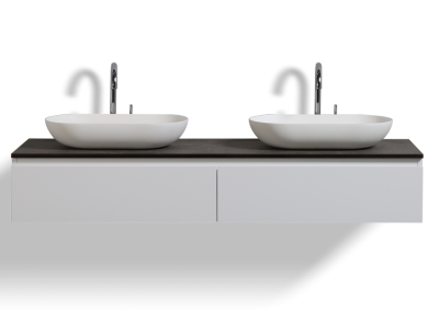 OVAI 60 WALL MOUNT MODERN BATHROOM VANITY WITH DOUBLE VESSEL SINK