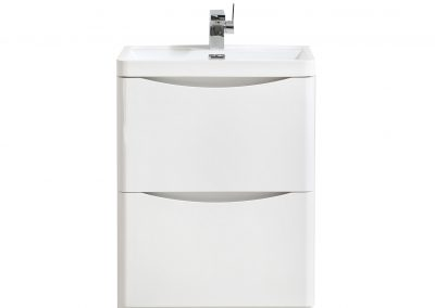SMILE 24 HIGH GLOSS WHITE FLOOR MOUNTED MODERN BATHROOM VANITY W 2 DRAWERS AND REEINFORCED ACRYLIC SINK