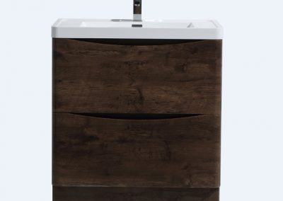 SMILE 32 ROSEWOOD FLOOR MOUNTED MODERN BATHROOM VANITY W 2 DRAWERS AND REEINFORCED ACRYLIC SINK