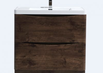 SMILE 36 ROSEWOOD FLOOR MOUNTED MODERN BATHROOM VANITY W 2 DRAWERS AND REEINFORCED ACRYLIC SINK