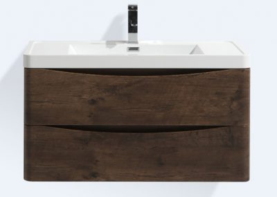 SMILE 36 ROSEWOOD WALL MOUNTED MODERN BATHROOM VANITY W 2 DRAWERS AND REEINFORCED ACRYLIC SINK