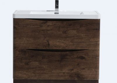 SMILE 40 ROSEWOOD FLOOR MOUNTED MODERN BATHROOM VANITY W 2 DRAWERS AND REEINFORCED ACRYLIC SINK