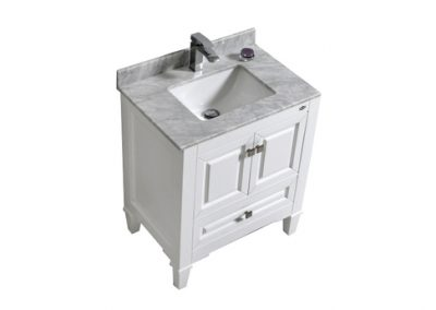 SYCA 30 WHITE BATHROOM VANITY WITH CARRARA MARBLE TOP