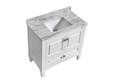 SYCA 36 WHITE BATHROOM VANITY WITH CARRARA MARBLE TOP