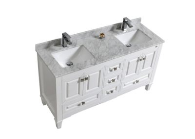 SYCA 60 DOUBLE SINK WHITE BATHROOM VANITY WITH CARRARA MARBLE TOP
