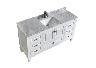 SYCA 60 SINGLE SINK WHITE BATHROOM VANITY WITH CARRARA MARBLE TOP