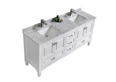 Syca 72 DOUBLE SINK WHITE BATHROOM VANITY WITH CARRARA MARBLE TOP
