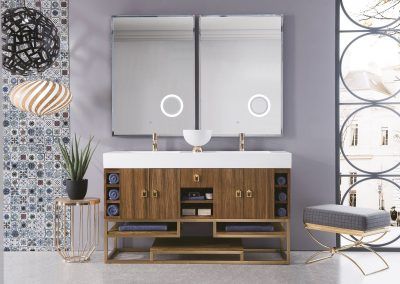 Tahoe 59 Double Vanity, Natural Zebrano Wood